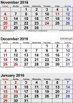 Template Trove 3 Month Calendar