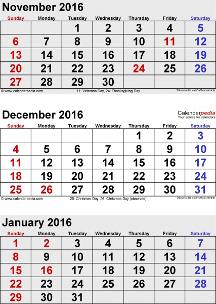 January 2016 Calendars For Word, Excel & Pdf