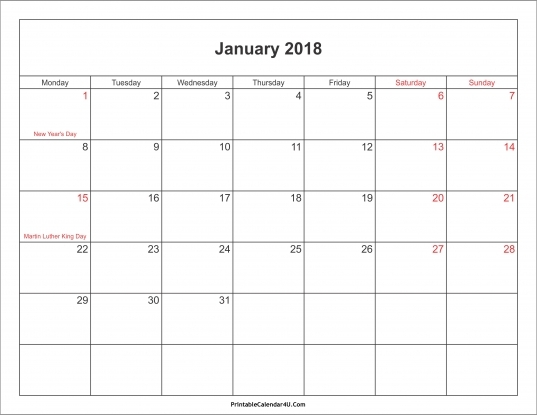January 2018 Calendar Printable With Holidays Pdf And Jpg