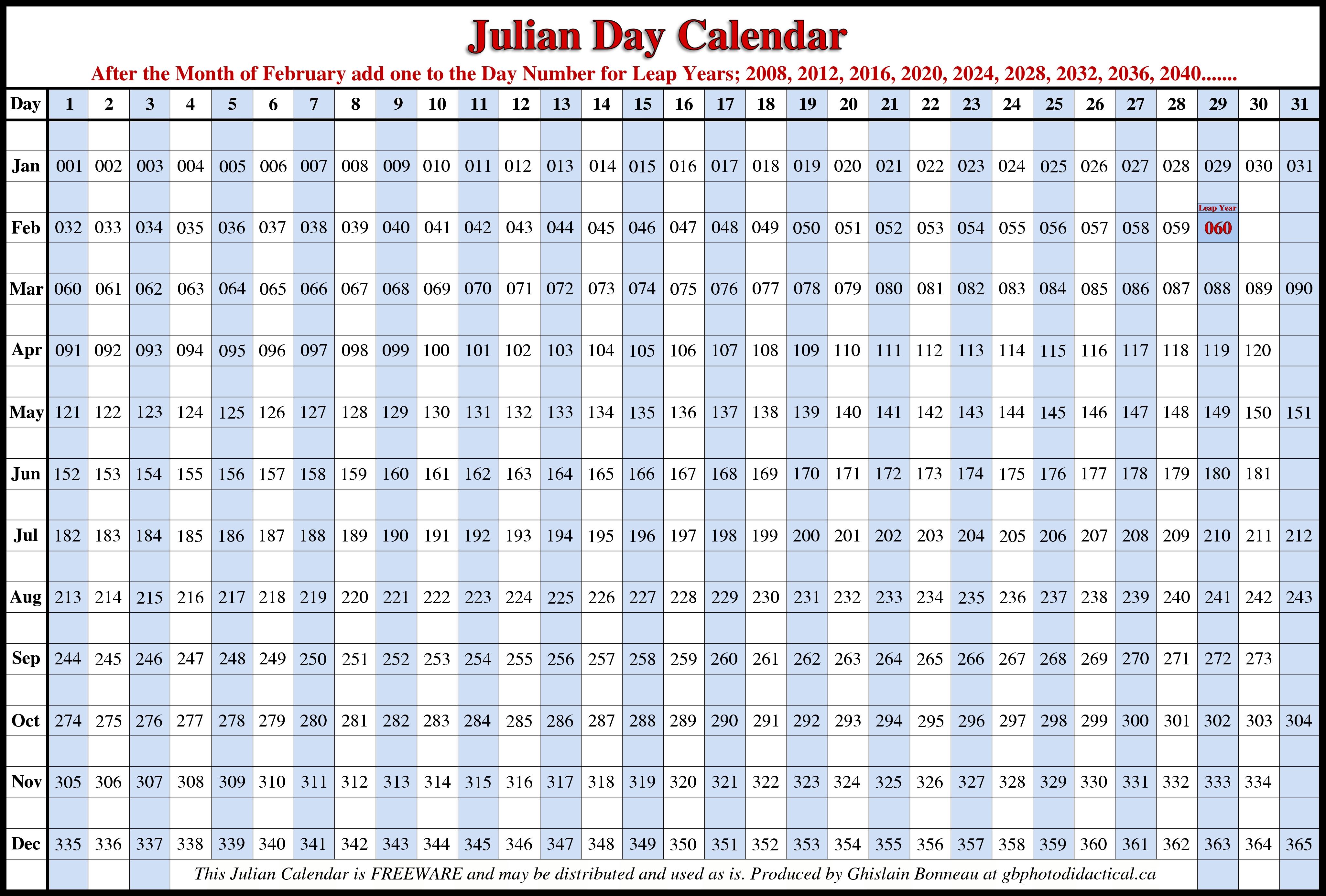 Julian Calendar Printable | Calendars