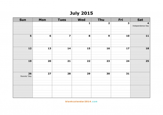 July 2015 Calendar   Free Printable Calendar Templates