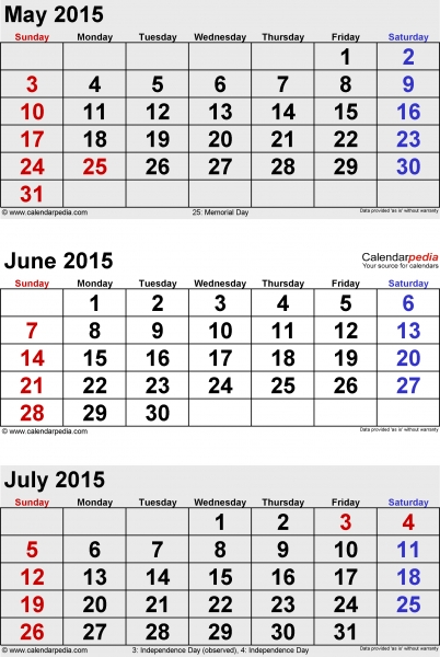 July 2015 Calendars For Word, Excel & Pdf