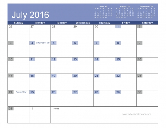July 2016 Calendar With Holidays Printable (7 Templates)