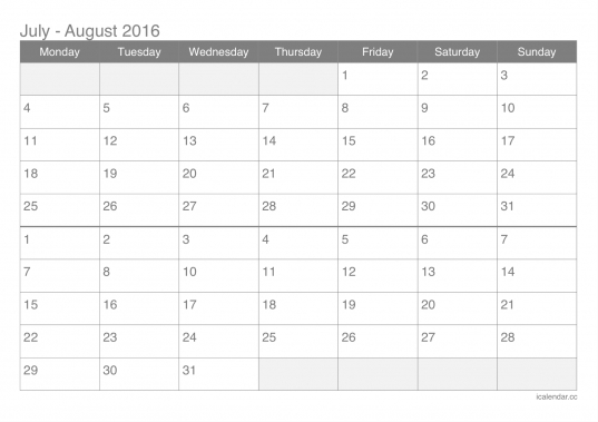 July And August 2016 Printable Calendar   Icalendars