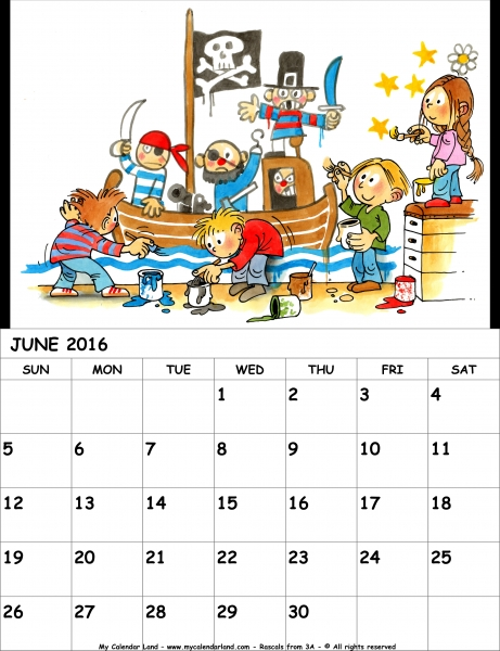 June 2016 Calendar   My Calendar Land