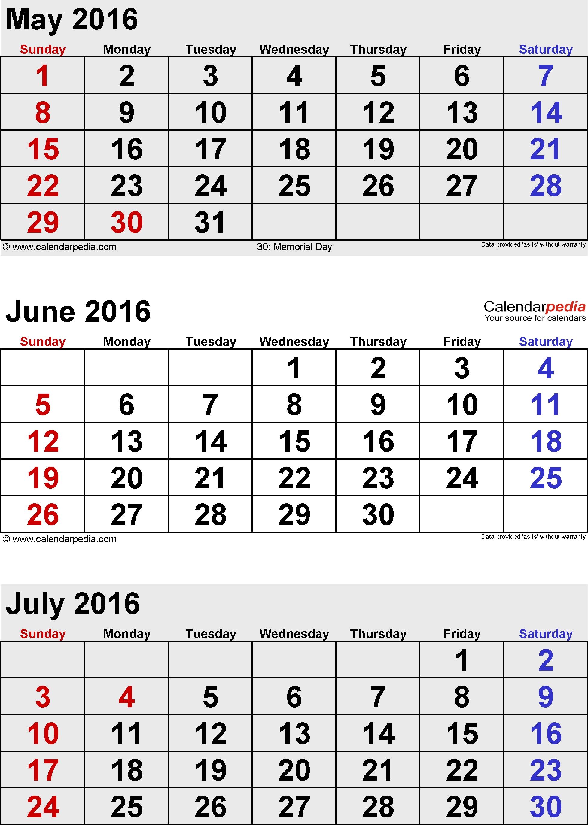 June July August 2016 Calendar   Free Calendar 2017