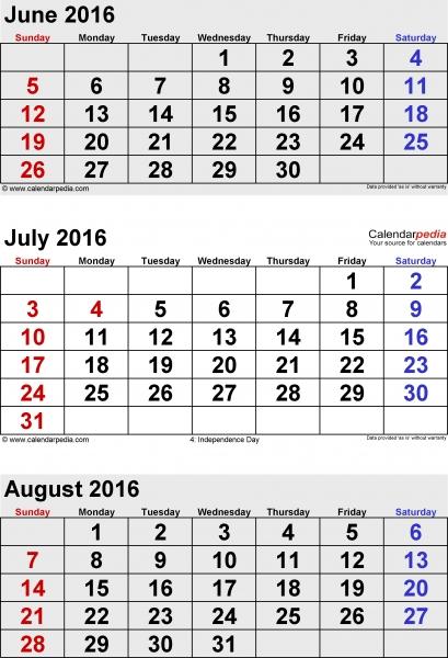 June July August 2016 Calendar | Free Calendar 2017