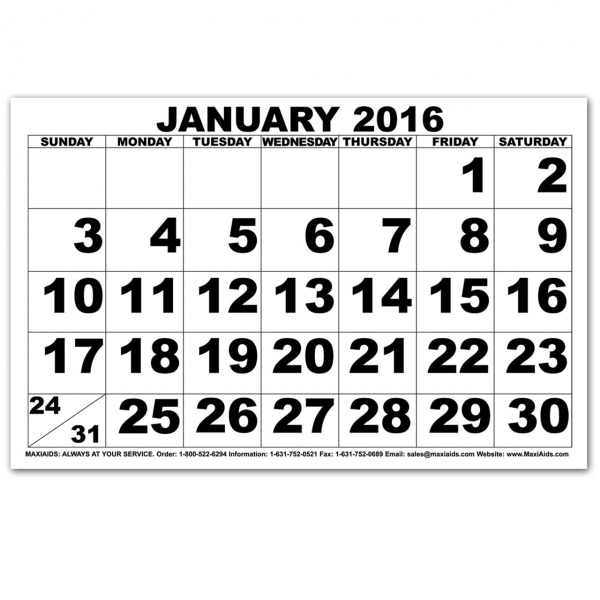 Maxiaids | Large Print Calendars
