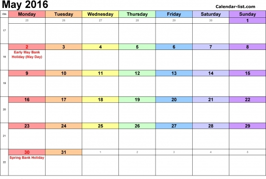May 2016 Calendar In Word