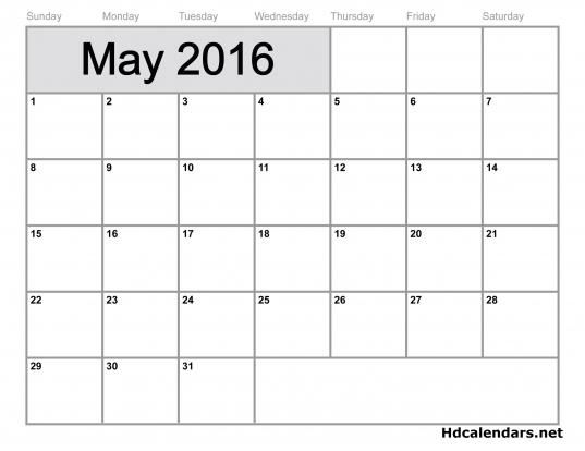 May 2016 Calendar Microsoft Word