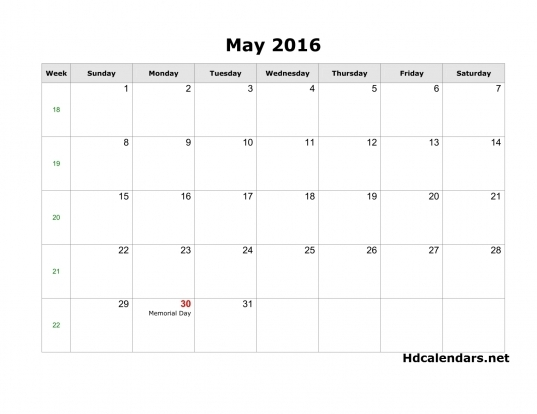 May 2016 Calendar With Moon