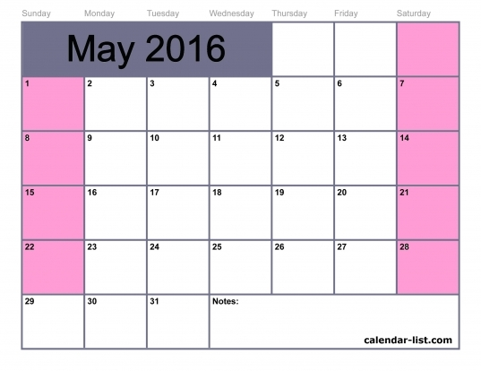 May 2016 Monthly Calendar Template