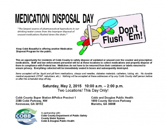 Medication Disposal Day | Keep Cobb Beautiful