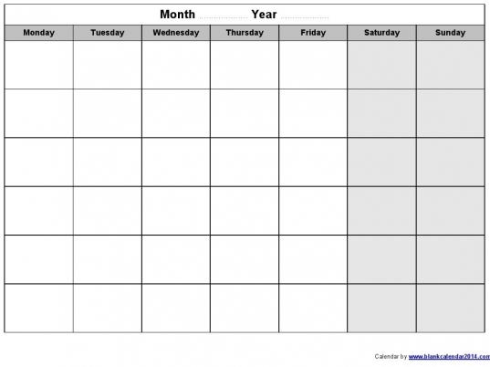 Monthly Calendar   Printable Calendar Blank Template