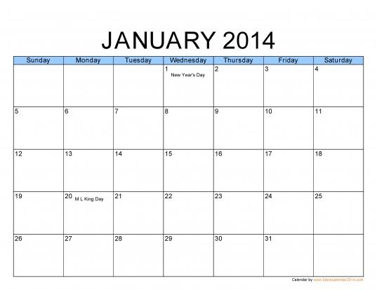 Pdf Calendar 2014   Free Pdf Calendar Template