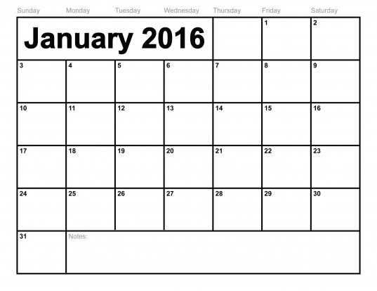 Photo : Blank Monthly Calendar Template Images