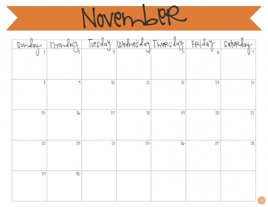 Printable Calendars For Novmember You Can Write In | Blank