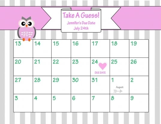 Printable Due Date Calendar // Ba Shower Game //  Chicwrist