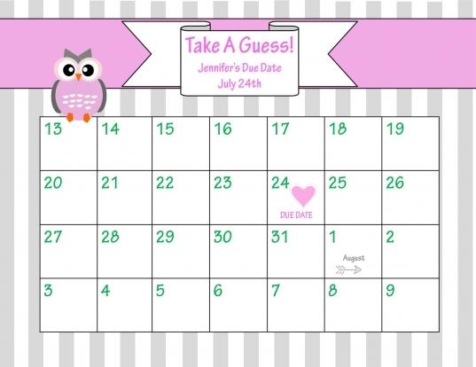 Printable Due Date Calendar // Ba Shower Game //  Chicwrist