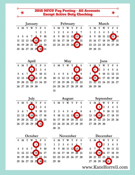 Printable Military Pay Calendars   Katehorrell