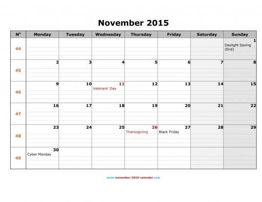 Printable November 2015 Calendar