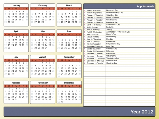 Printing A Yearly Calendar With Holidays And Birthdays   Howto Outlook