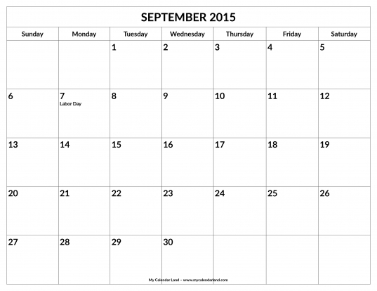 September 2015 Calendar   My Calendar Land