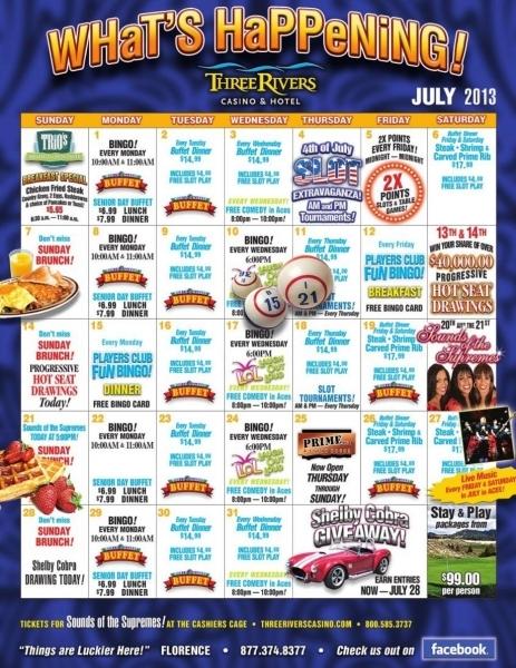 Three Rivers Casino Resort   July Calendar