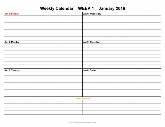 Week Printable Calendar Template Sample