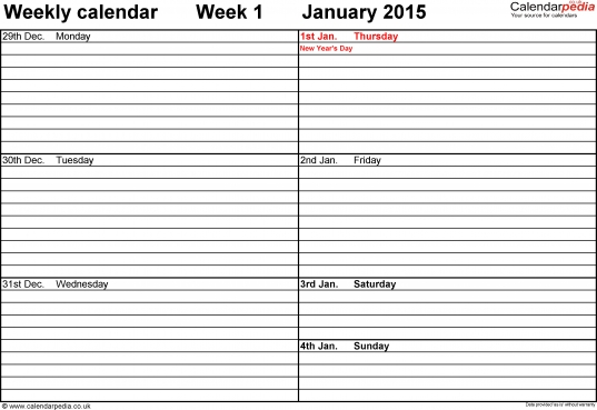 Weekly Calendar 2015 Uk   Free Printable Templates For Word