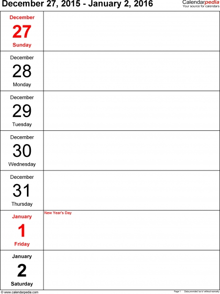 Weekly Calendar 2016 For Pdf   12 Free Printable Templates