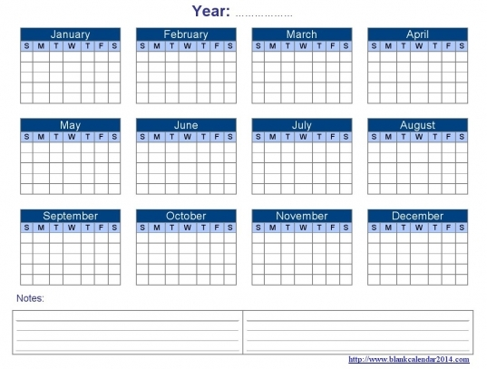 Yearly Blank Calendar Templates   Free Download, Editable & Printable