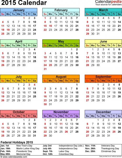 2015 Calendar   16 Free Printable Word Calendar Templates