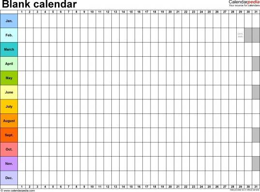Blank Calendar   9 Free Printable Microsoft Word Templates