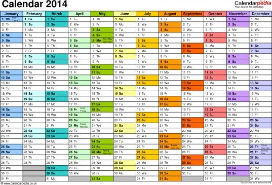 Excel Year Planner/calendar 2014 Uk: 15 Free Printable Templates