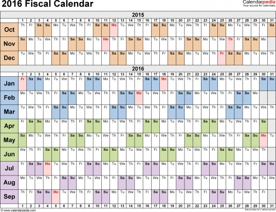 Fiscal Calendars 2016 As Free Printable Word Templates