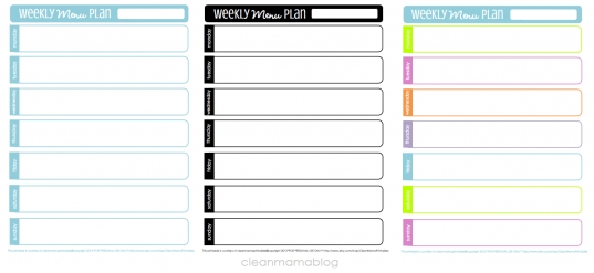 Kitchen Month   Weekly Menu Planning   Free Printables   Clean Mama