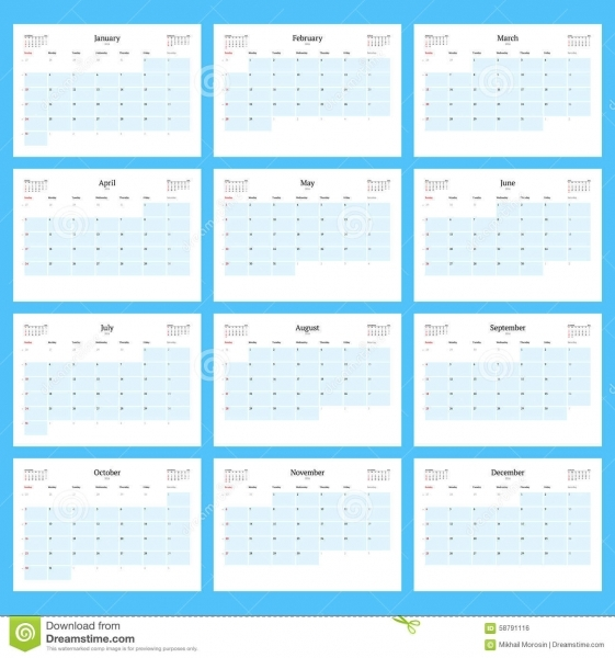 Monthly Calendar Planner For 2016. Print Template Set Of 12 Months