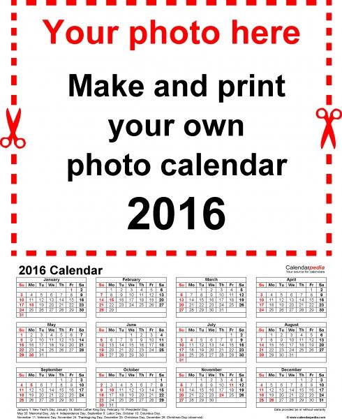 Photo Calendar 2016   Free Printable Excel Templates