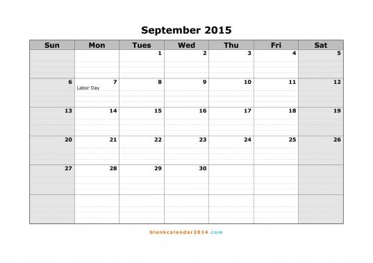 September 2015 Calendar   Free Printable Calendar Templates