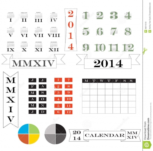 2014 Calendar And Elements Stock Photo   Image: 29211510