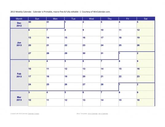 3 Week Calendar Template. 3 Month Calendar Template 2013. Blank