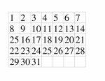 Printable Calendar Numbers 1-31