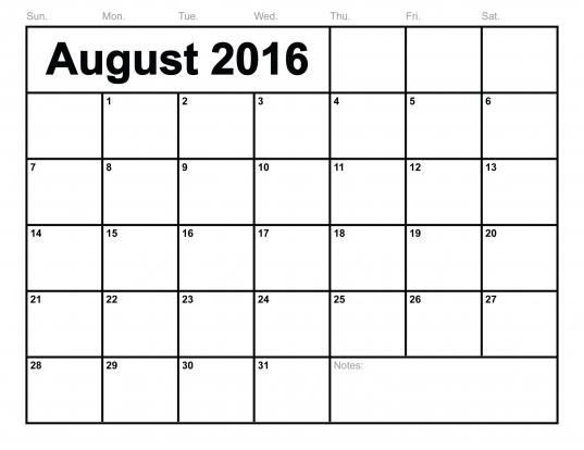 6 Best Images Of 8 X 11 Printable Calendar August 2016   Printable
