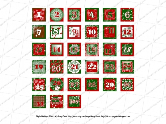 6 Best Images Of Free Printable Christmas Numbers 1 To 31   Free