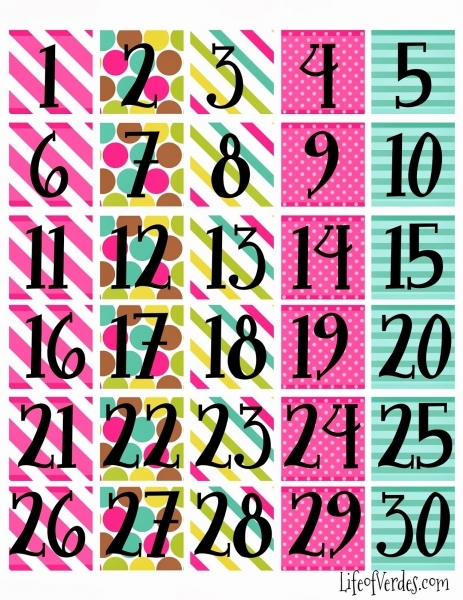 6 Best Images Of Large Printable Calendar Numbers   2016 Monthly