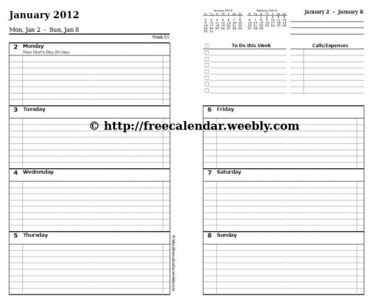 7 Best Images Of Free Weekly Printable Calendar Pages   Free