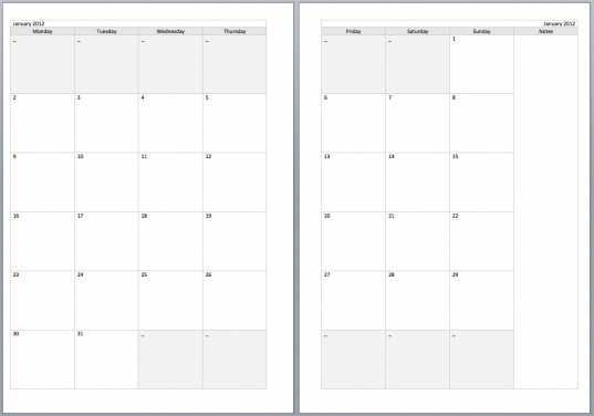 8 Best Images Of 2016 Printable 2 Page Per Month Planner Pages