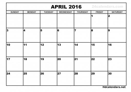 April 2016 Calendar Starting Monday