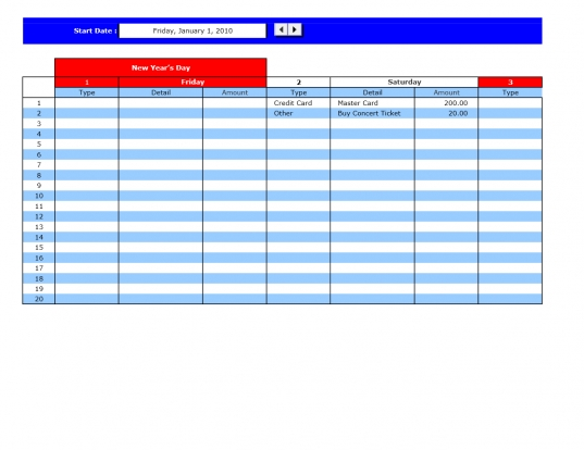 Bill Payment Calendar | Excel Templates | Excel Spreadsheets